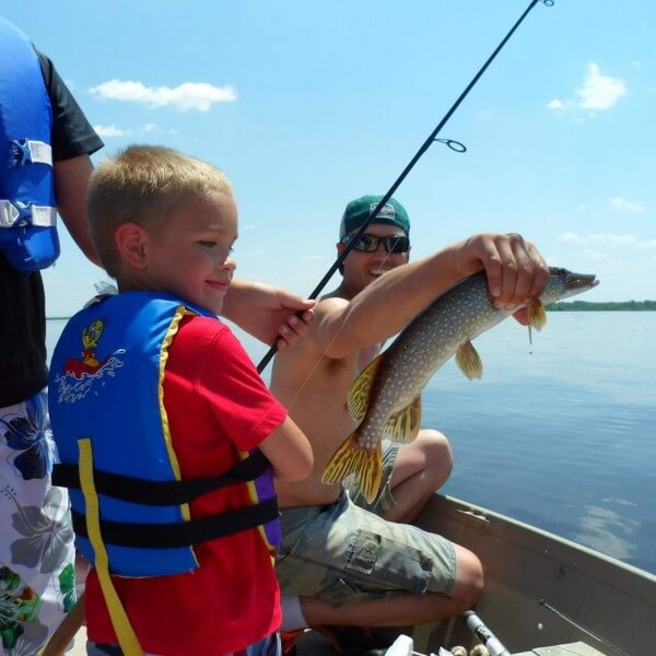 northern pike caught by kids on lake superior