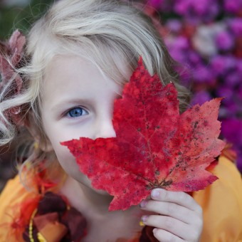 girl with fall red leaf