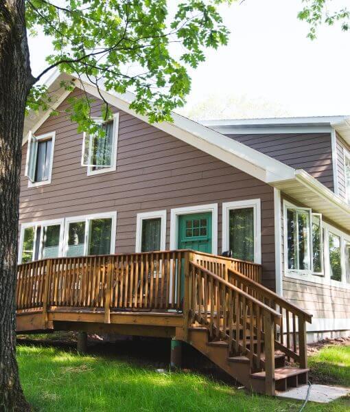 lake house, windows, side entrance