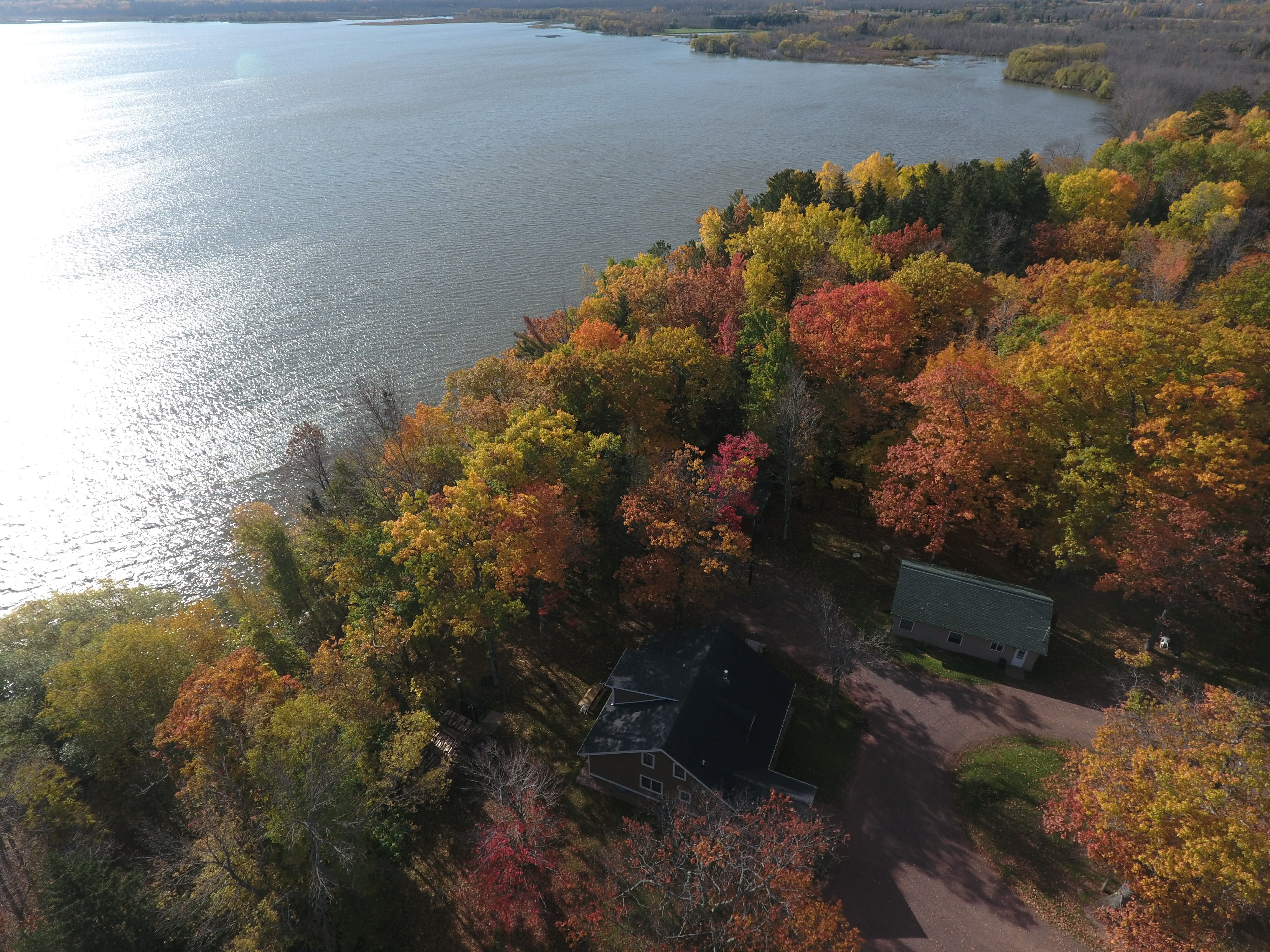 Aerial View on Mission Springs Resort on Lake Superior in Ashland Wisconsin.
