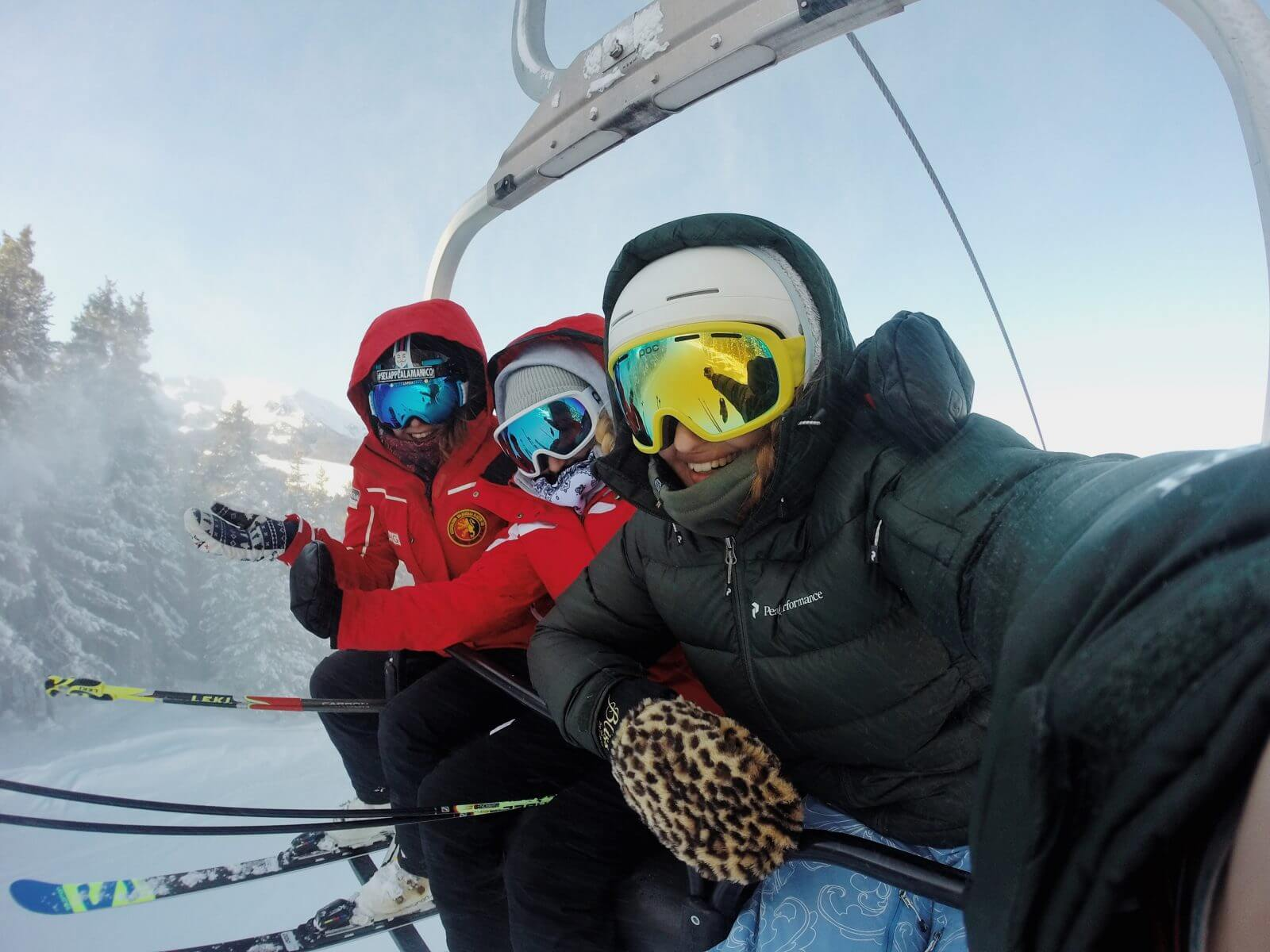 Friends on Chair Lift Skiing