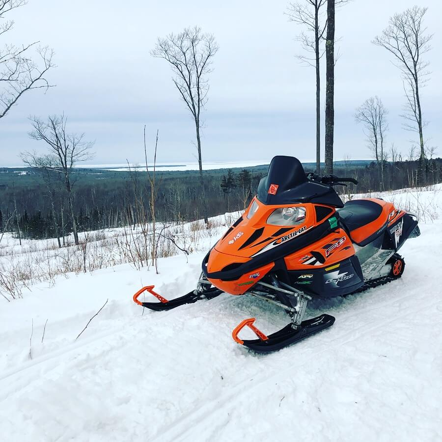 snowmobile with great view in Bayfield County