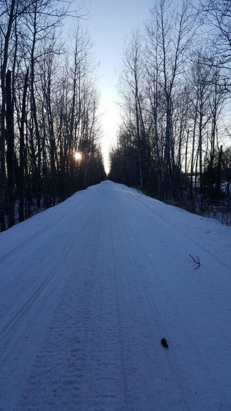 Sunset on the snowmobile trail in Bayfield County