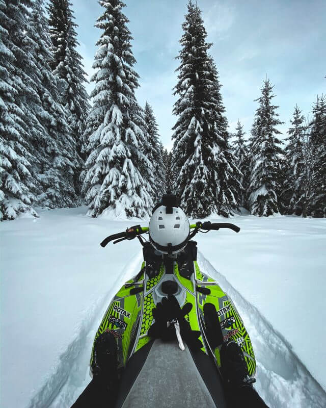 Green Snowmobile in front of forest